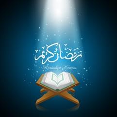 Background ramadan kareem with al quran.