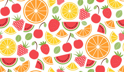 Colorful vector summer seamless pattern with fruits illustration isolated on white background