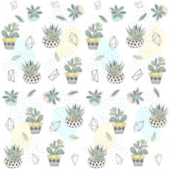 Vector seamless pattern with different succulents in a pots and glass terrariums. Trendy tropical design for textile