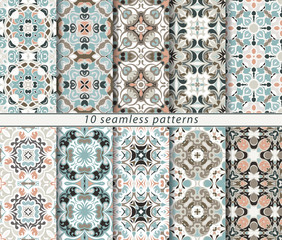Vector set of ten seamless abstract patterns in shades of blue and pink. Decorative and design elements for textile, book covers, print, gift wrap.