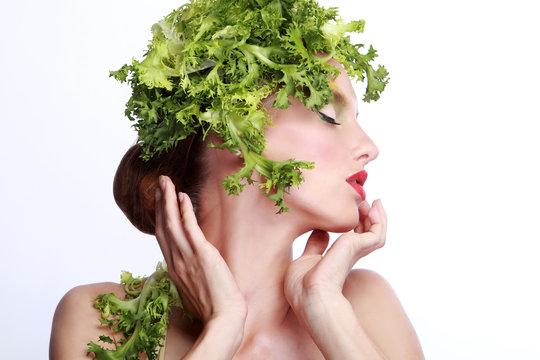 Sensual Model with Salad Hair