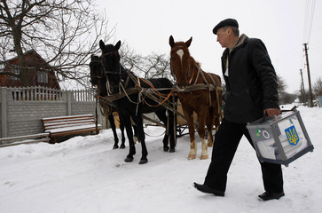 A member of a local election commission carries a ballot box to a voter in front of a horse-drawn sledge during the presidential election in the village of Dibrovo-Leninske