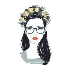 Portrait of young beautiful woman with flowers in long hair with glasses. Comic style fashion illustration.