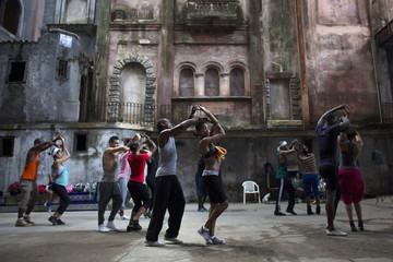 Dancers from Deep Roots Dance Company perform during a training session in an old theatre in downtown Havana