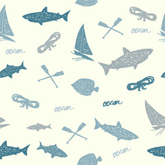 Blue Ocean Seamless Pattern, Vintage Rubber Stamp Style