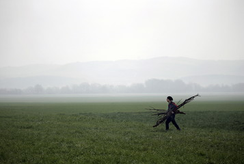 A temporarily stranded Syrian refugee carries wood on a field by the Greek-Macedonian border, near the Greek village of Idomeni