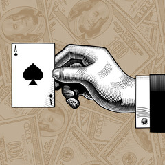 Hand with the ace of Spades playing card on the dollars bank notes seamless pattern background