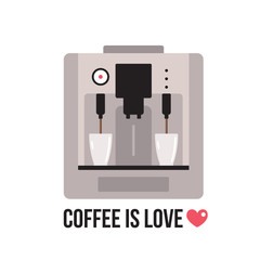 Coffee machine on white background