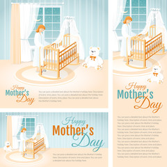 Banners with the Mother and the Child in the Cot. Happy Mother's Day.