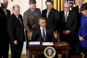 Obama holds signing ceremony at the White House in Washington