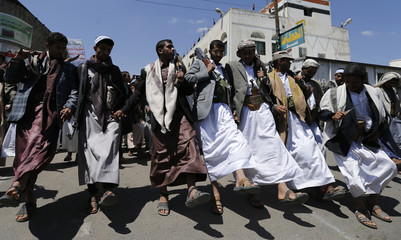 Followers of the Shi'ites Houthi group perform the traditional Baraa dance as they celebrate Eid al-Ghadir in Sanaa