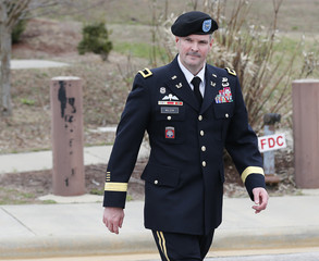 Army Brigadier General Wilson leaves the courthouse after testifying in the court-martial of the United States vs. Brigadier General Sinclair at Fort Bragg in Fayetteville