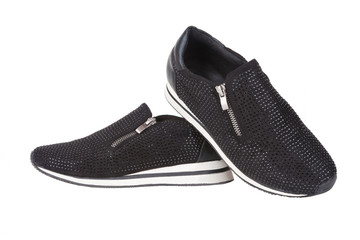 Black sneakers with rhinestones