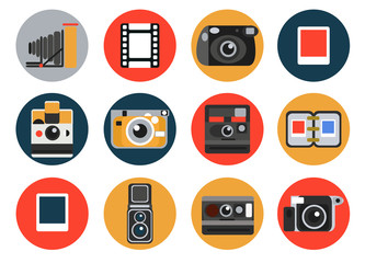 Vector Retro Vintage Cameras. Different vintage analogue cameras with film and photos