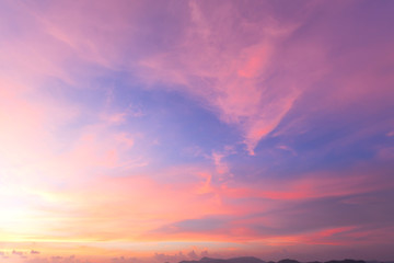 rainbow color of evening sky with sunlight of sunset