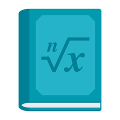 Mathematics concept with math book, blue cover and formula, vector illustration in flat style