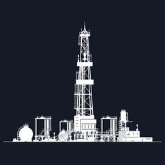 White Silhouette Drilling Rig on Black Background , Oil Rig with Tanks for Fuel Storage and Warehouse Outbuildings, Oil Well Drilling, Vector Illustration
