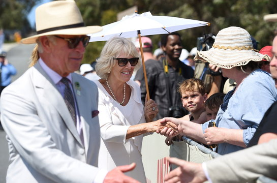Britain's Prince Charles and Camilla, Duchess of Cornwall, greet well-wishers during their visit to the National Anzac Centre in Albany, Western Australia
