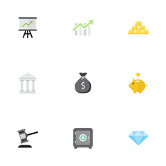 Flat Growing Chart, Money Box, Strongbox And Other Vector Elements. Set Of Business Flat Symbols Also Includes Bar, Courthouse, Bars Objects.