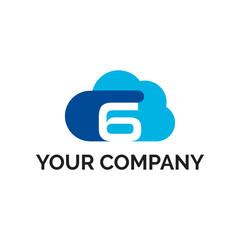 number 6 cloud modern logo vector
