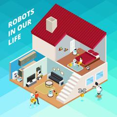 Robots Isometric Illustration