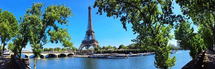 Paris mit Seine und Eiffelturm / Tour Eiffel / Eiffeltower - Panorama Banner