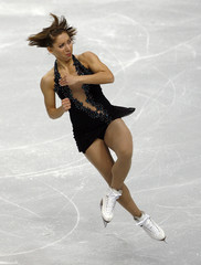 Lacoste of Canada performs in the ladies short program during Skate America figure skating competition in Portland