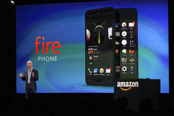 Amazon CEO Bezos talks about his company's new Fire smartphone at a news conference in Seattle