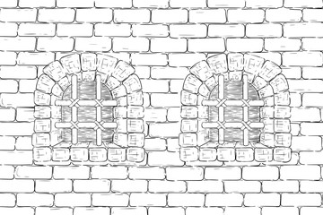 Old brick wall with barred windows. Hand drawing, vintage sketch