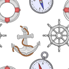 Nautical elements seamless pattern. Hand drawn colored sketch