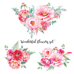 Watercolor bouquets of flowers set. Hand painted colorful floral compositions isolated on white background. Vintage style peonies, rose, tulip and leaves posy.