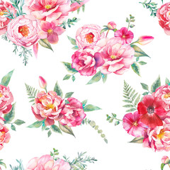 Watercolor seamless pattern with peonies flowers, fern and eucalyptus leaves. Hand painted repeating background with floral elements, peony, roses, tulip flowers. Garden style texture
