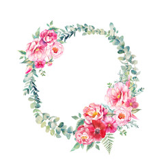 Watercolor vintage eucalyptus and tree branches wreath with flowers bouquet. Hand drawn floral decorative element isolated on white background. Green branches, peonies, tulip, rose, fern.