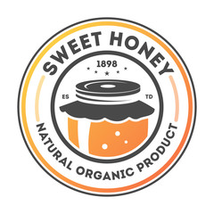 Sweet honey vintage label isolated vector illustration. Traditional beekeeping icon, natural organic honey product badge.