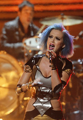 Katy Perry performs at the 54th annual Grammy Awards in Los Angeles