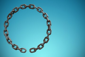 Composite image of 3d image of metallic broken chain