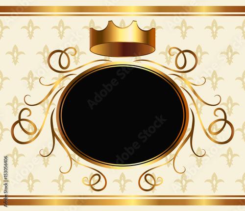 Elegant aristocratic greeting card template with golden crown and elegant aristocratic greeting card template with golden crown and copy space for text medieval heraldic stopboris Choice Image