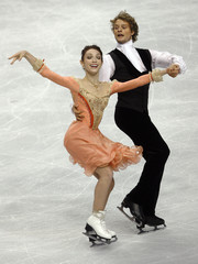 Meryl Davis and Charlie White of the US perform at the Skate America figure skating competition in Portland