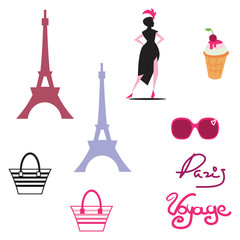 Paris isolated icon set on paris theme with well known signs and elements of france