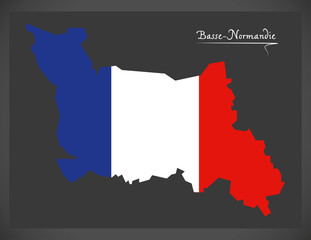 Basse-Normandie map with French national flag illustration