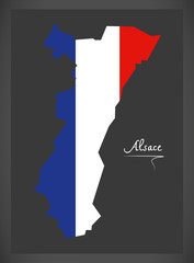 Alsace map with French national flag illustration