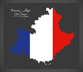 Provence -  Alpes Cote dazur map with French national flag illustration
