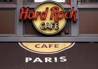 The logo and awning of the Hard Rock Cafe are seen in Paris
