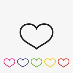 Set of outline hearts vector icon. Love symbol flat illustration.