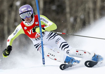 Maria Riesch of Germany skis to the seventh best time in the first heat the women's World Cup slalom in Aspen