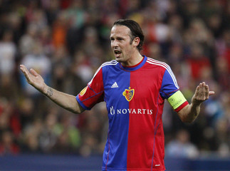 FC Basel's Streller gestures during their Europa League round of 16 second leg soccer match against FC Salzburg in Salzburg