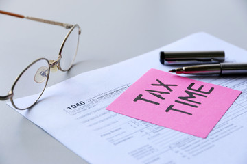 Pink Paper Note With Words Tax Time Business
