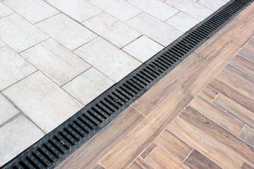 Rainwater drainage system on a sidewalk