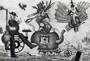 Caricature, mocking the steam cars