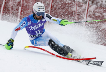 Ligety of the U.S. competes during first run of men's Alpine Skiing World Cup slalom in Wengen